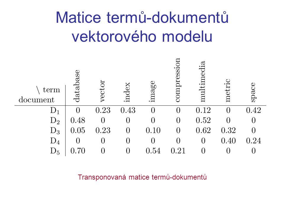 """LSI (indexování latentní sémantiky) algebraické rozšíření vektorového modelu z matice termů-dokumentů se """"vyrobí matice konceptů-dokumentů SVD rozkladem (koncepty = levé singulární vektory) významných konceptů je daleko méně než termů, např."""