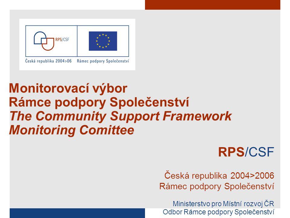 ÚVOD/ INTRODUCTION 9.00 – 9.15 Přivítání účastníků/ Welcome of participants Schválení agendy MV RPS/ Approval of the CSF MC programme