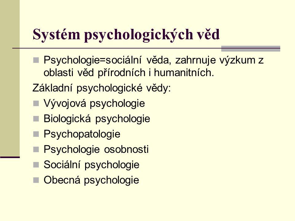 Systém psychologických věd Psychologie=sociální věda, zahrnuje výzkum z oblasti věd přírodních i humanitních. Základní psychologické vědy: Vývojová ps