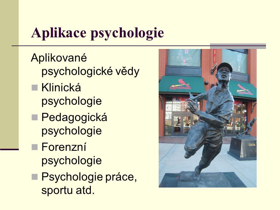 Aplikace psychologie Aplikované psychologické vědy Klinická psychologie Pedagogická psychologie Forenzní psychologie Psychologie práce, sportu atd.