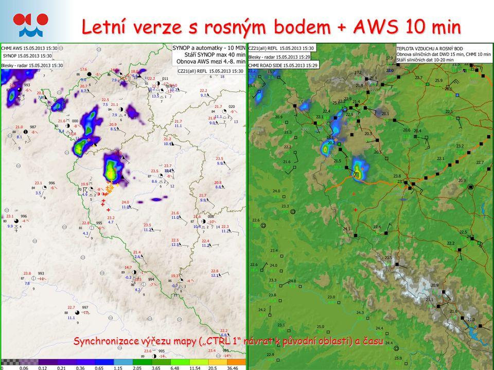 """Letní verze s rosným bodem + AWS 10 min Synchronizace výřezu mapy (""""CTRL 1 návrat k původní oblasti) a času"""