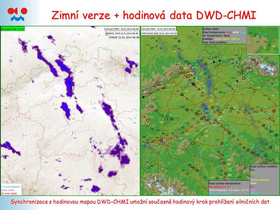 Zimní verze + hodinová data DWD-CHMI Synchronizace s hodinovou mapou DWD-CHMI umožní současně hodinový krok prohlížení silničních dat