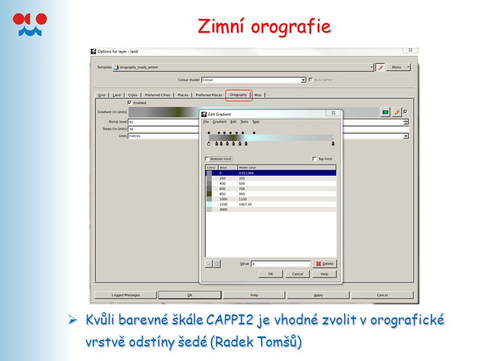 Zimní orografie  Kvůli barevné škále CAPPI2 je vhodné zvolit v orografické vrstvě odstíny šedé (Radek Tomšů)