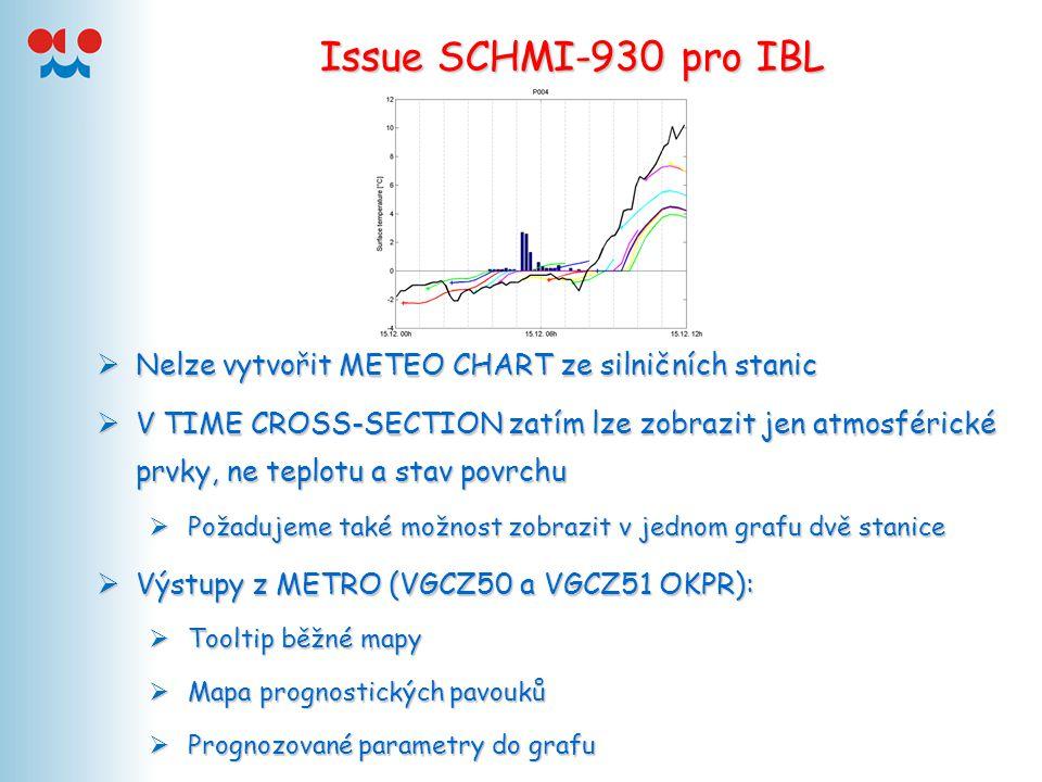 Issue SCHMI-930 pro IBL  Nelze vytvořit METEO CHART ze silničních stanic  V TIME CROSS-SECTION zatím lze zobrazit jen atmosférické prvky, ne teplotu a stav povrchu  Požadujeme také možnost zobrazit v jednom grafu dvě stanice  Výstupy z METRO (VGCZ50 a VGCZ51 OKPR):  Tooltip běžné mapy  Mapa prognostických pavouků  Prognozované parametry do grafu