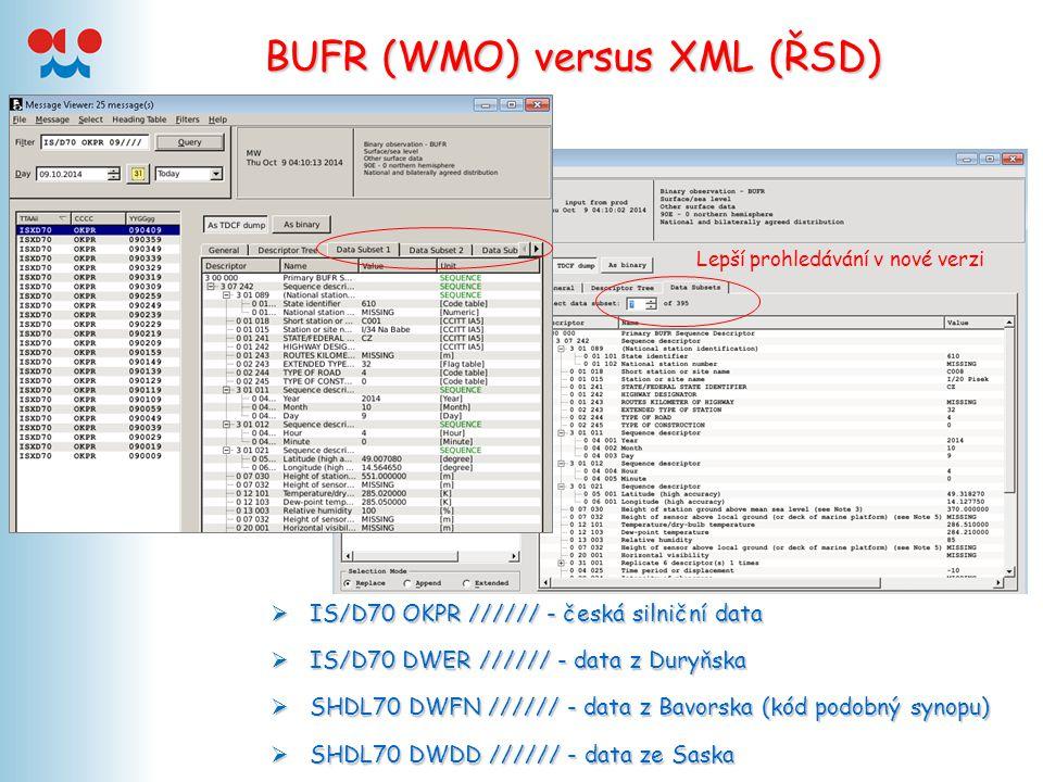 BUFR (WMO) versus XML (ŘSD)  Eva Červená (ČHMÚ), Sibylle Krebber (DWD) - 2005  Pavel Stingl (IT Developers, s.r.o.) BUFR umožňuje odlišit výrobce senzoru, upřesnit pozici na vozovce, materiál vozovky…