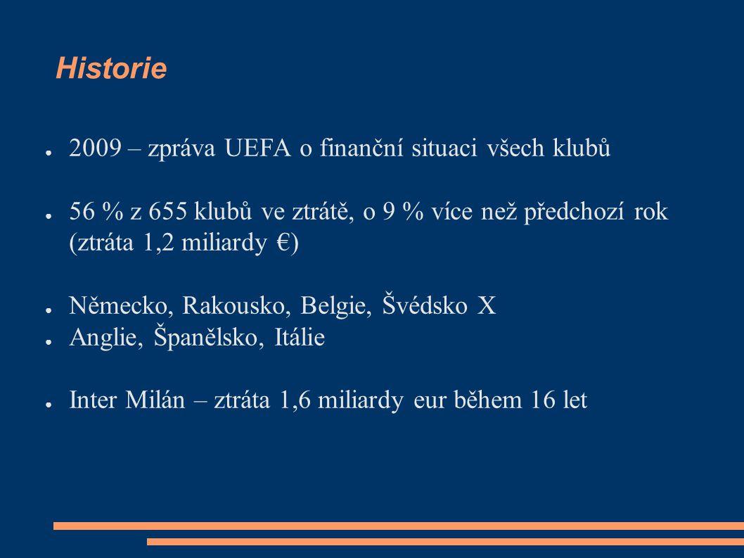 Historie ● 2009 – zpráva UEFA o finanční situaci všech klubů ● 56 % z 655 klubů ve ztrátě, o 9 % více než předchozí rok (ztráta 1,2 miliardy €) ● Německo, Rakousko, Belgie, Švédsko X ● Anglie, Španělsko, Itálie ● Inter Milán – ztráta 1,6 miliardy eur během 16 let