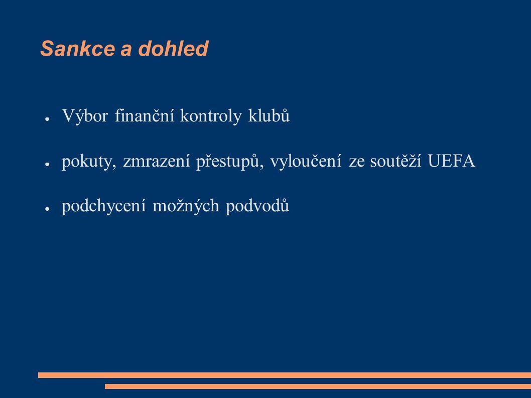 Sankce a dohled ● Výbor finanční kontroly klubů ● pokuty, zmrazení přestupů, vyloučení ze soutěží UEFA ● podchycení možných podvodů