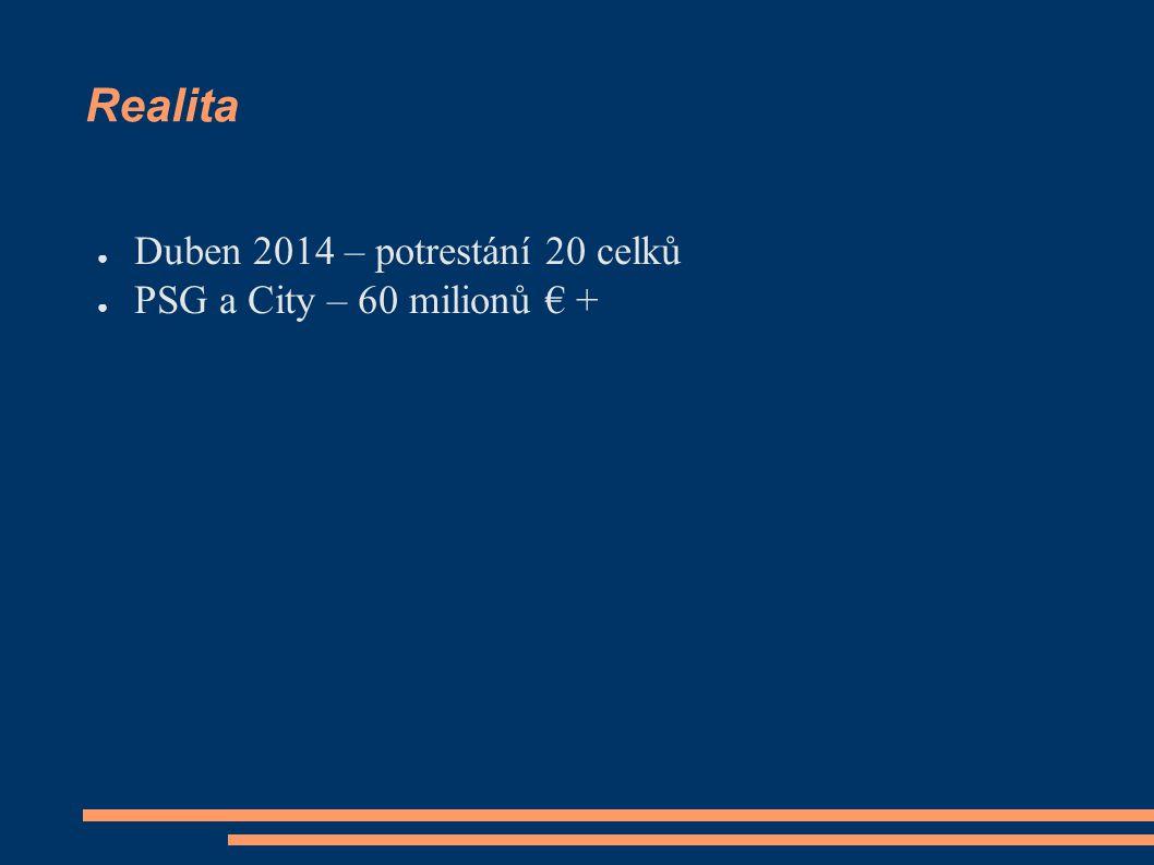 Realita ● Duben 2014 – potrestání 20 celků ● PSG a City – 60 milionů € +