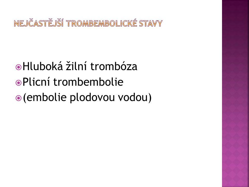  Hluboká žilní trombóza  Plicní trombembolie  (embolie plodovou vodou)