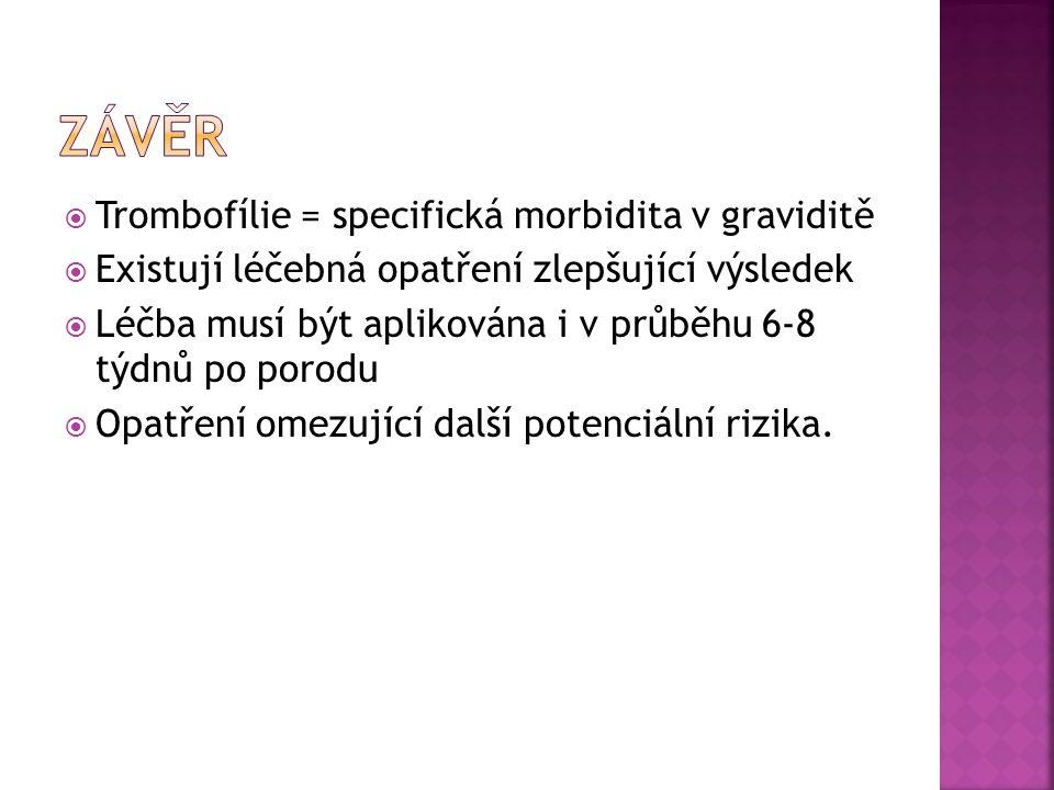  Trombofílie = specifická morbidita v graviditě  Existují léčebná opatření zlepšující výsledek  Léčba musí být aplikována i v průběhu 6-8 týdnů po