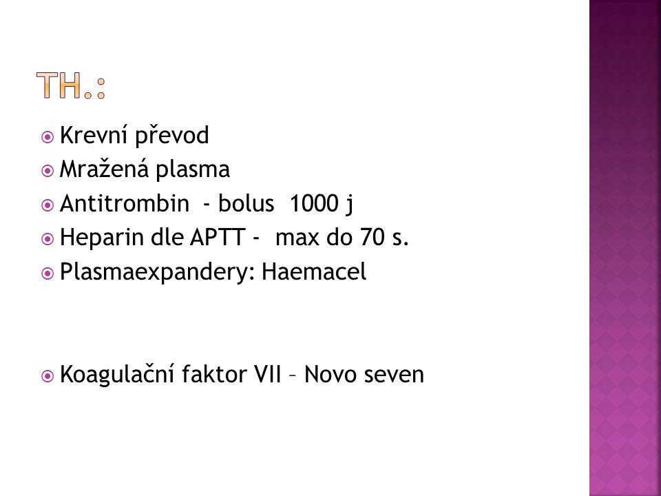  Krevní převod  Mražená plasma  Antitrombin - bolus 1000 j  Heparin dle APTT - max do 70 s.  Plasmaexpandery: Haemacel  Koagulační faktor VII –