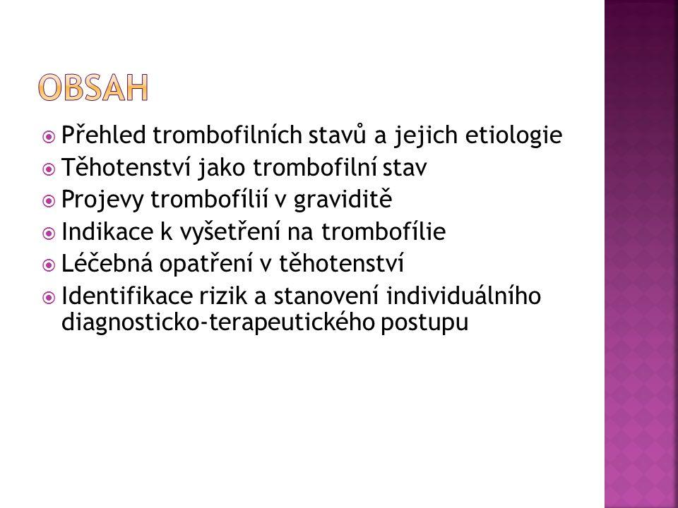  Přehled trombofilních stavů a jejich etiologie  Těhotenství jako trombofilní stav  Projevy trombofílií v graviditě  Indikace k vyšetření na tromb