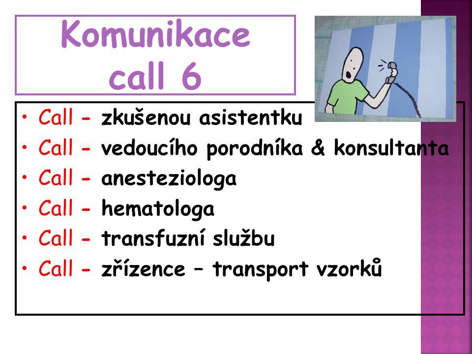 Komunikace call 6 Call - zkušenou asistentku Call - vedoucího porodníka & konsultanta Call - anesteziologa Call - hematologa Call - transfuzní službu