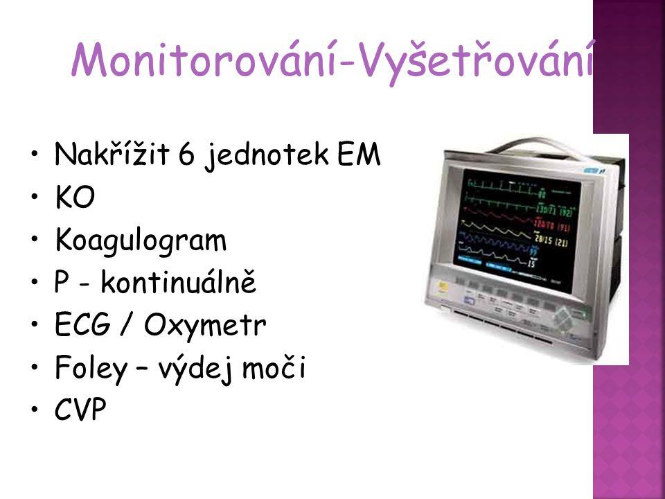 Monitorování-Vyšetřování Nakřížit 6 jednotek EM KO Koagulogram P - kontinuálně ECG / Oxymetr Foley – výdej moči CVP