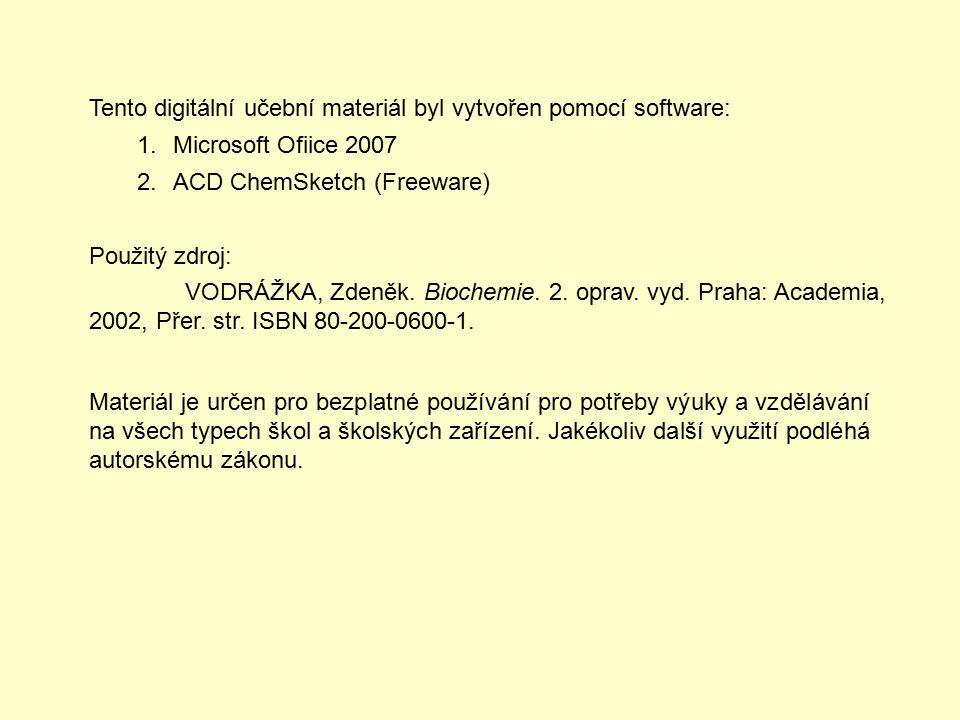 Tento digitální učební materiál byl vytvořen pomocí software: 1.Microsoft Ofiice 2007 2.ACD ChemSketch (Freeware) Použitý zdroj: VODRÁŽKA, Zdeněk.