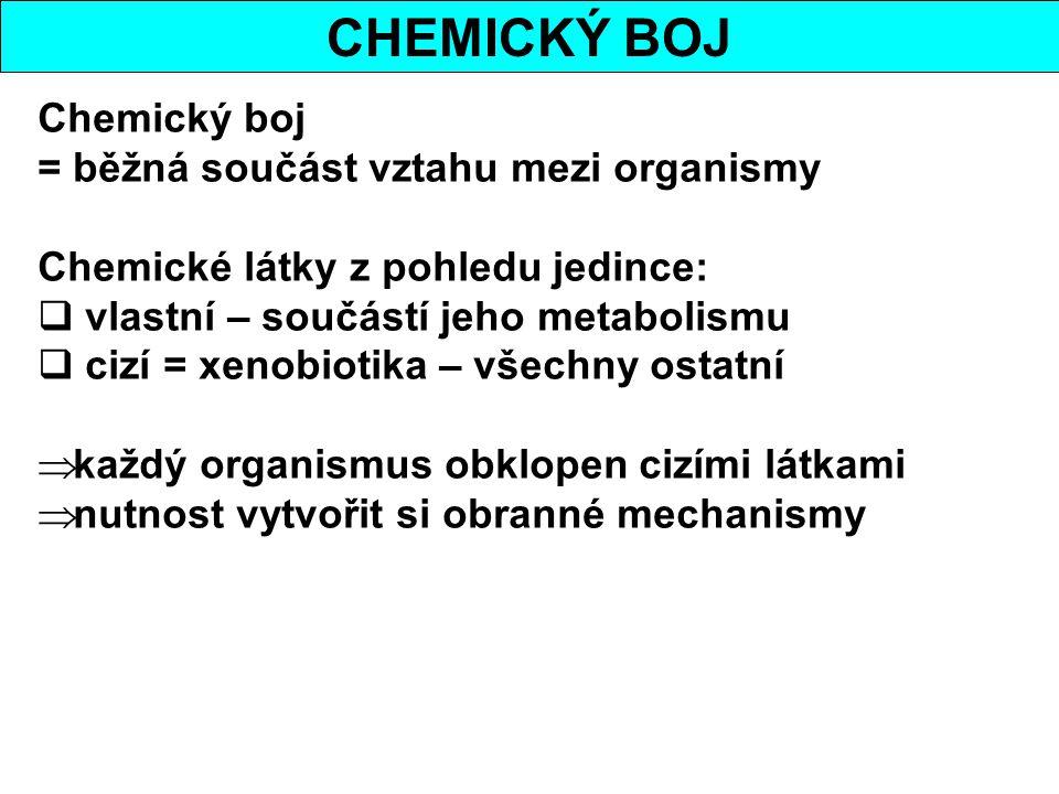 CHEMICKÝ BOJ Chemický boj = běžná součást vztahu mezi organismy Chemické látky z pohledu jedince:  vlastní – součástí jeho metabolismu  cizí = xenob