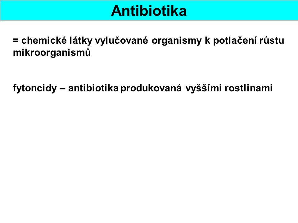 Antibiotika = chemické látky vylučované organismy k potlačení růstu mikroorganismů fytoncidy – antibiotika produkovaná vyššími rostlinami