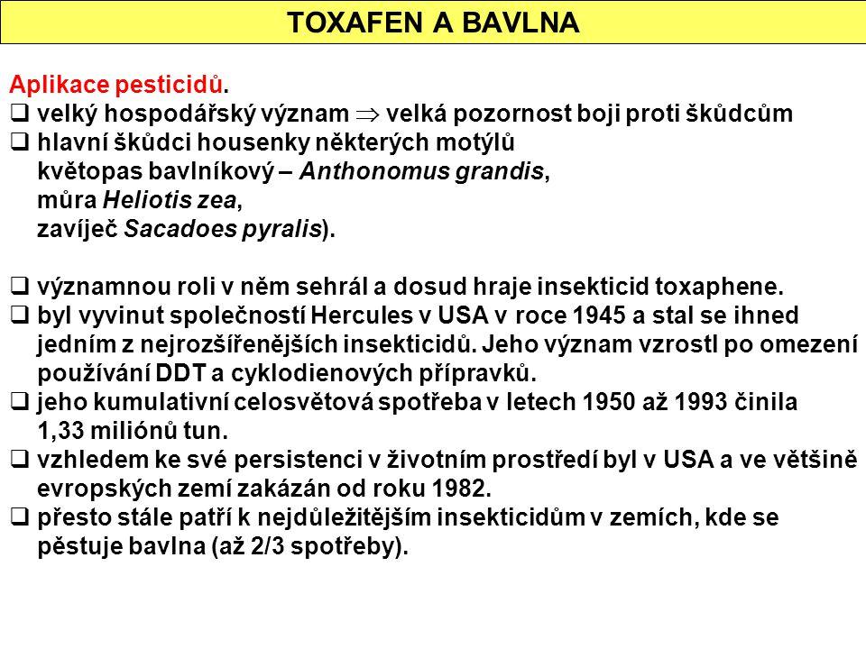 TOXAFEN A BAVLNA Aplikace pesticidů.  velký hospodářský význam  velká pozornost boji proti škůdcům  hlavní škůdci housenky některých motýlů květopa