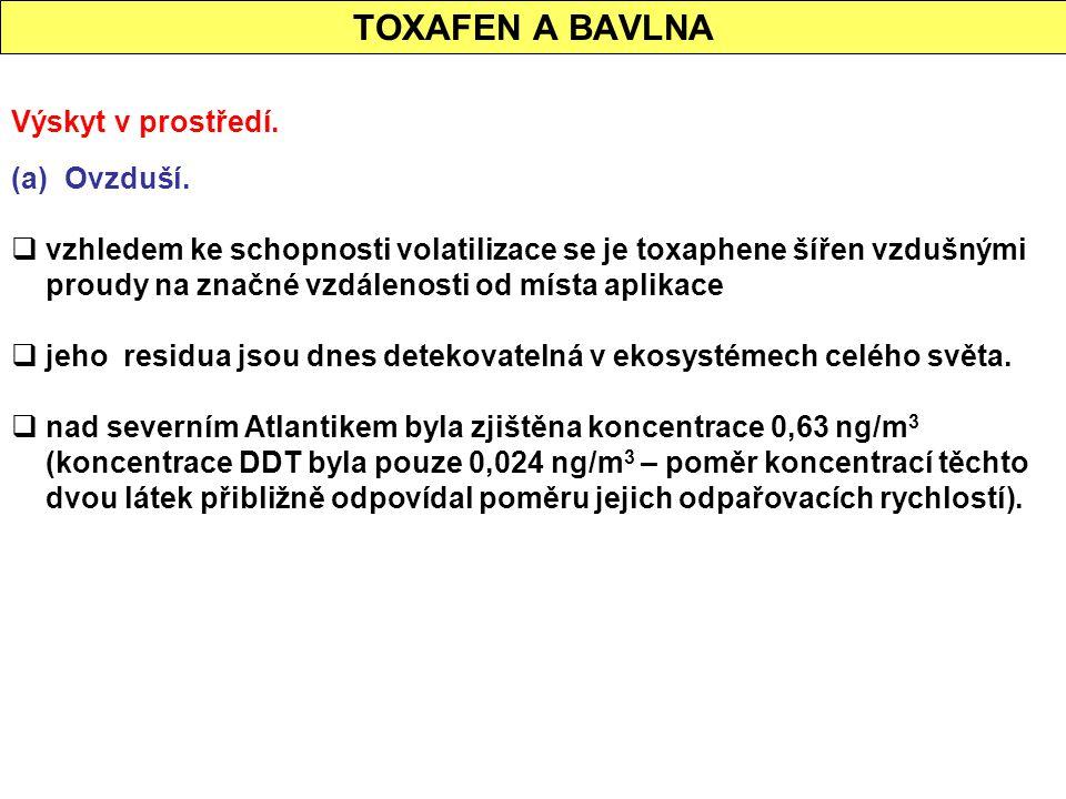 TOXAFEN A BAVLNA Výskyt v prostředí. (a) Ovzduší.  vzhledem ke schopnosti volatilizace se je toxaphene šířen vzdušnými proudy na značné vzdálenosti o