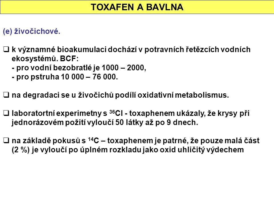 TOXAFEN A BAVLNA (e) živočichové.  k významné bioakumulaci dochází v potravních řetězcích vodních ekosystémů. BCF: - pro vodní bezobratlé je 1000 – 2