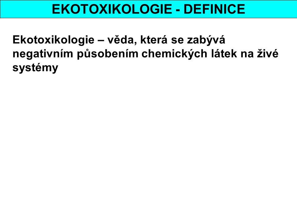 EKOTOXIKOLOGIE - DEFINICE Ekotoxikologie – věda, která se zabývá negativním působením chemických látek na živé systémy