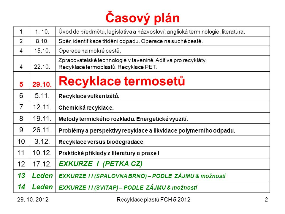 Alkoholýza PUR 1329. 10. 2012Recyklace plastů FCH 5 2012
