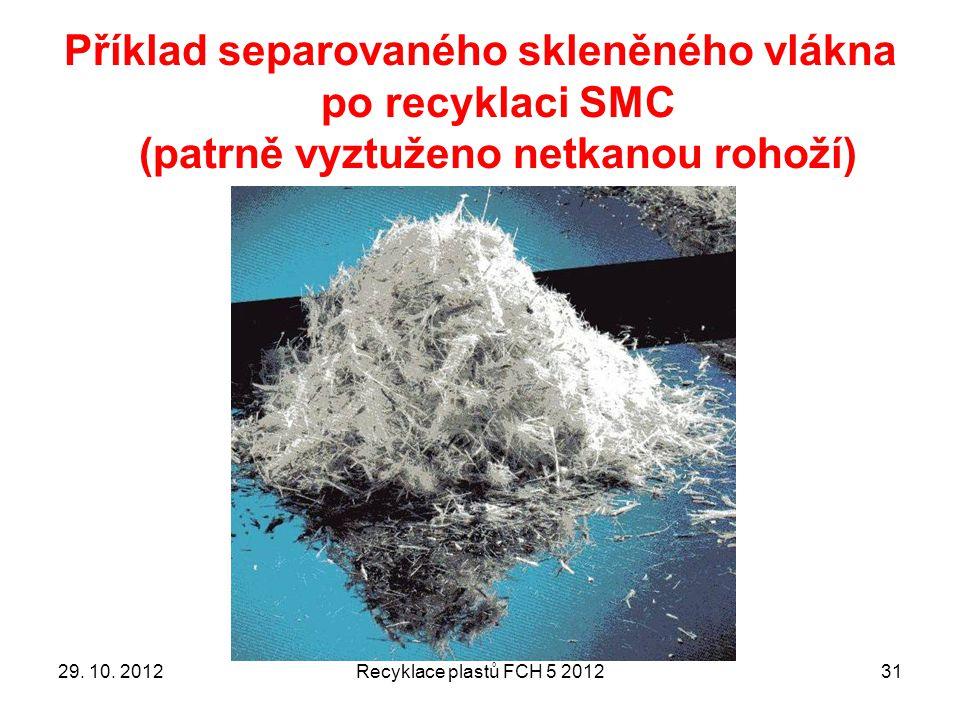 Příklad separovaného skleněného vlákna po recyklaci SMC (patrně vyztuženo netkanou rohoží) 3129.