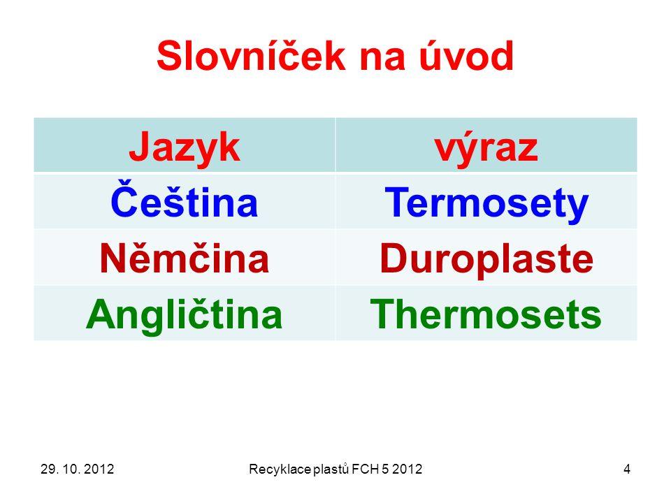 Slovníček na úvod 4 Jazykvýraz ČeštinaTermosety NěmčinaDuroplaste AngličtinaThermosets 29.