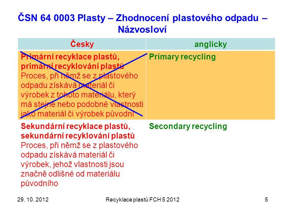 ČSN 64 0003 Plasty – Zhodnocení plastového odpadu – Názvosloví Českyanglicky Primární recyklace plastů, primární recyklování plastů Proces, při němž se z plastového odpadu získává materiál či výrobek z tohoto materiálu, který má stejné nebo podobné vlastnosti jako materiál či výrobek původní Primary recycling Sekundární recyklace plastů, sekundární recyklování plastů Proces, při němž se z plastového odpadu získává materiál či výrobek, jehož vlastnosti jsou značně odlišné od materiálu původního Secondary recycling 529.