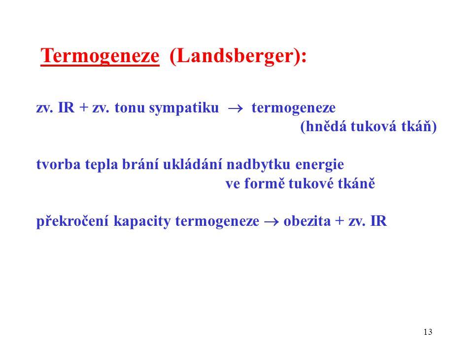 13 Termogeneze (Landsberger): zv. IR + zv. tonu sympatiku  termogeneze (hnědá tuková tkáň) tvorba tepla brání ukládání nadbytku energie ve formě tuko