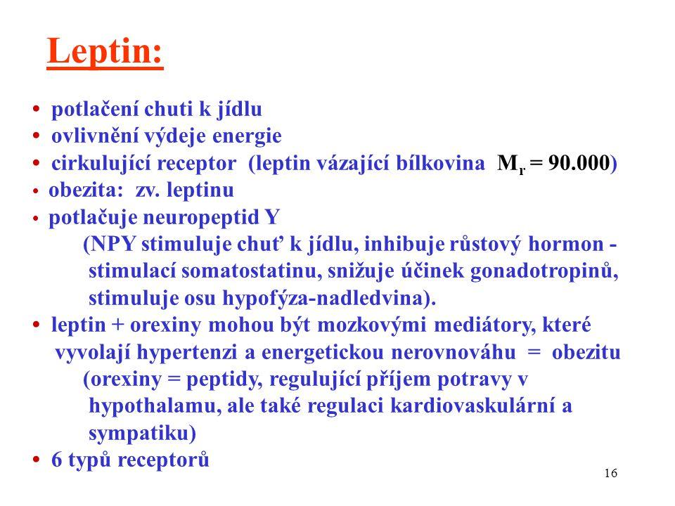 16 Leptin: potlačení chuti k jídlu ovlivnění výdeje energie cirkulující receptor (leptin vázající bílkovina M r = 90.000) obezita: zv. leptinu potlaču