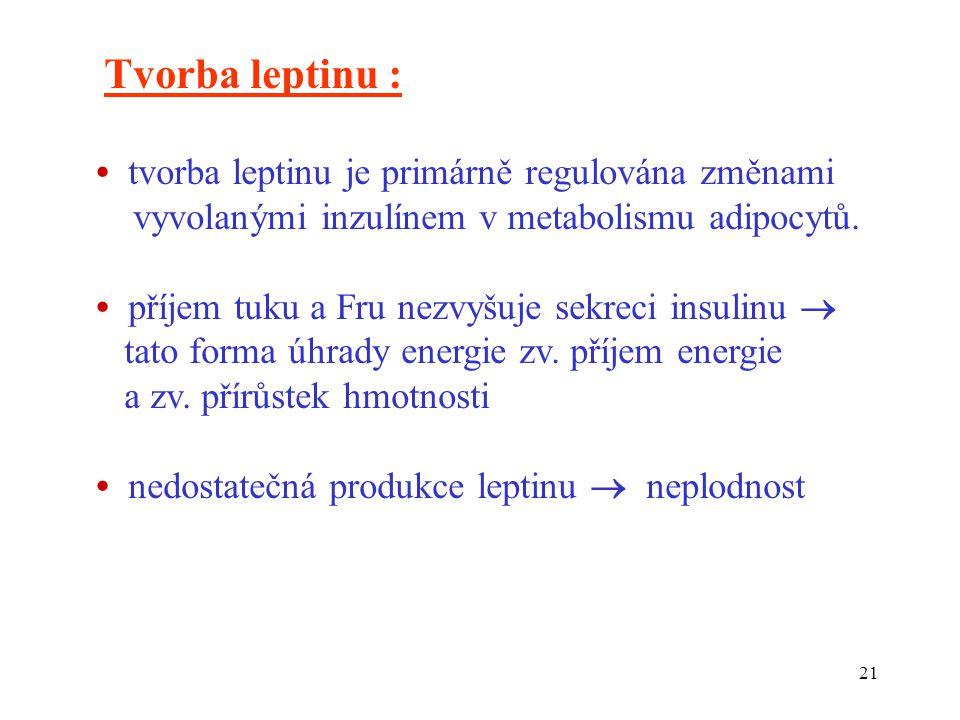 21 Tvorba leptinu : tvorba leptinu je primárně regulována změnami vyvolanými inzulínem v metabolismu adipocytů.