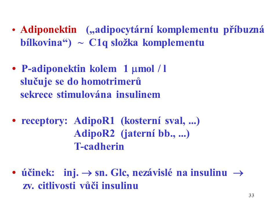 """33 Adiponektin (""""adipocytární komplementu příbuzná bílkovina ) ~ C1q složka komplementu P-adiponektin kolem 1  mol / l slučuje se do homotrimerů sekrece stimulována insulinem receptory: AdipoR1 (kosterní sval,...) AdipoR2 (jaterní bb.,...) T-cadherin účinek: inj."""