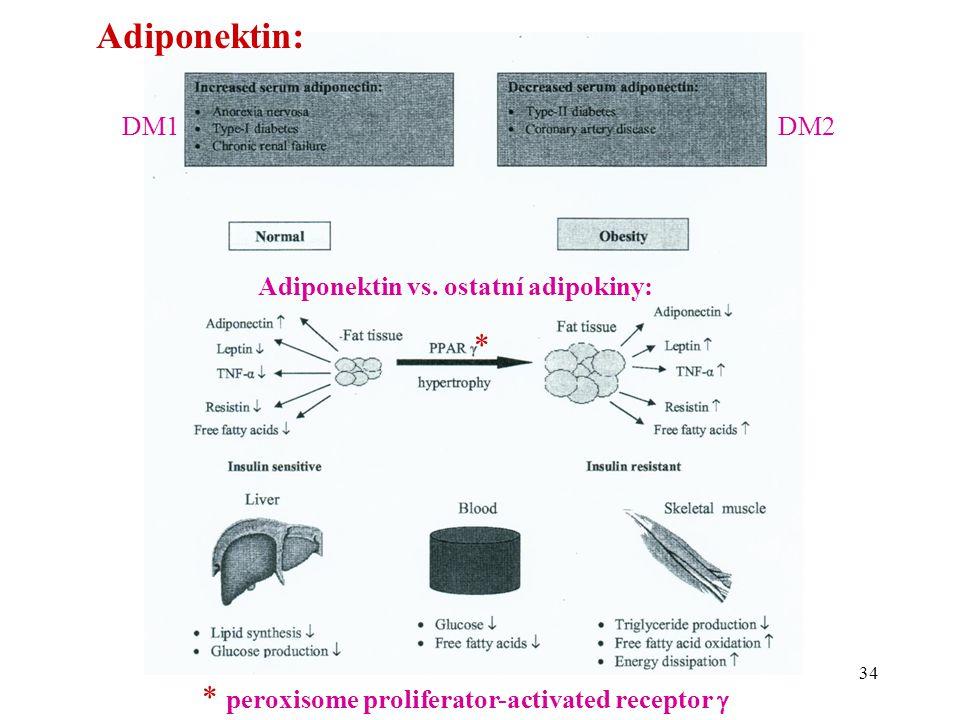 34 Adiponektin vs. ostatní adipokiny: DM1DM2 Adiponektin: * * peroxisome proliferator-activated receptor 