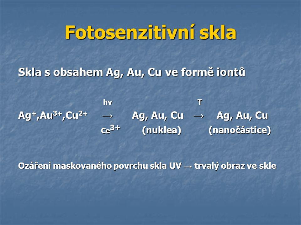 Fotosenzitivní skla Skla s obsahem Ag, Au, Cu ve formě iontů hν T hν T Ag +,Au 3+,Cu 2+ → Ag, Au, Cu → Ag, Au, Cu Ce 3+ (nuklea) (nanočástice) Ce 3+ (