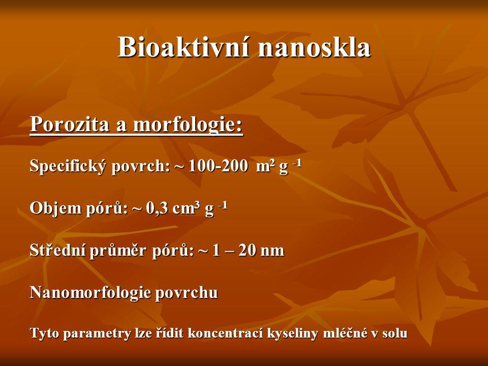 Bioaktivní nanoskla Porozita a morfologie: Specifický povrch: ~ 100-200 m 2 g -1 Objem pórů: ~ 0,3 cm 3 g -1 Střední průměr pórů: ~ 1 – 20 nm Nanomorf