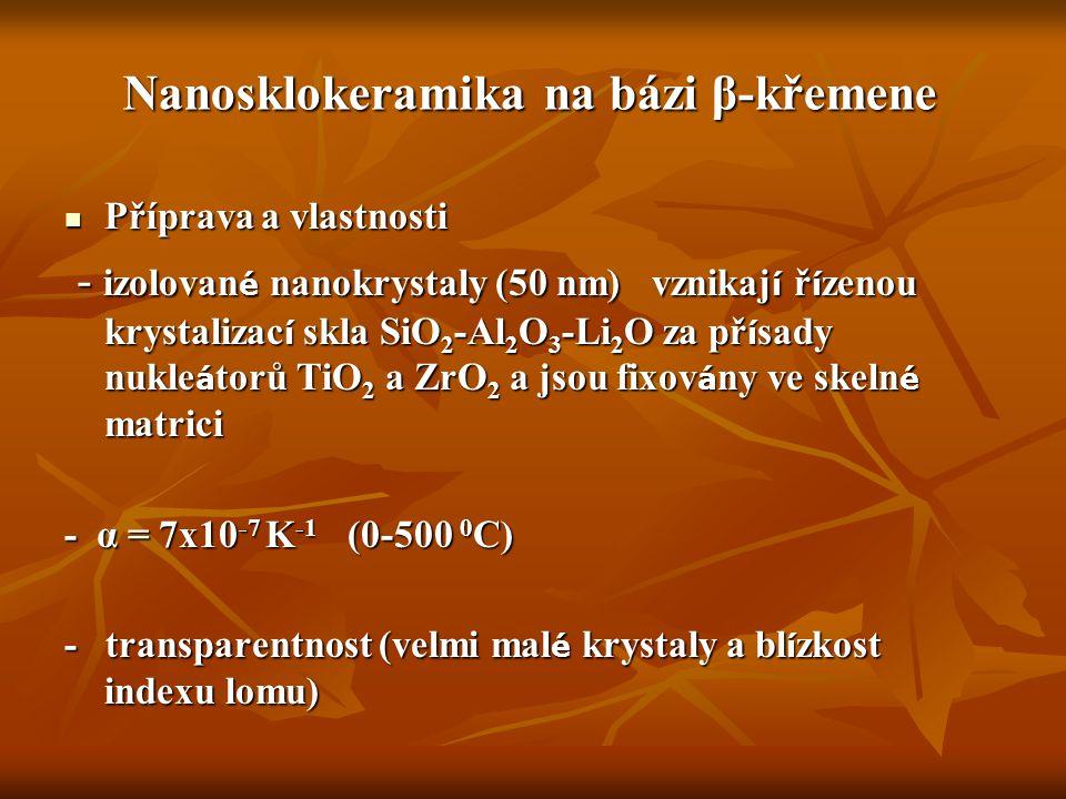 Nanosklokeramika na bázi β-křemene Příprava a vlastnosti Příprava a vlastnosti - izolovan é nanokrystaly (50 nm) vznikaj í ř í zenou krystalizac í skl