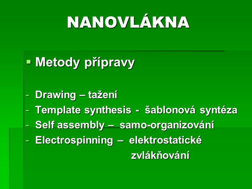 NANOVLÁKNA  Metody přípravy -Drawing – tažení -Template synthesis - šablonová syntéza -Self assembly – samo-organizování -Electrospinning – elektrost