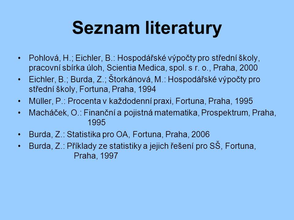 Seznam literatury Pohlová, H.; Eichler, B.: Hospodářské výpočty pro střední školy, pracovní sbírka úloh, Scientia Medica, spol.