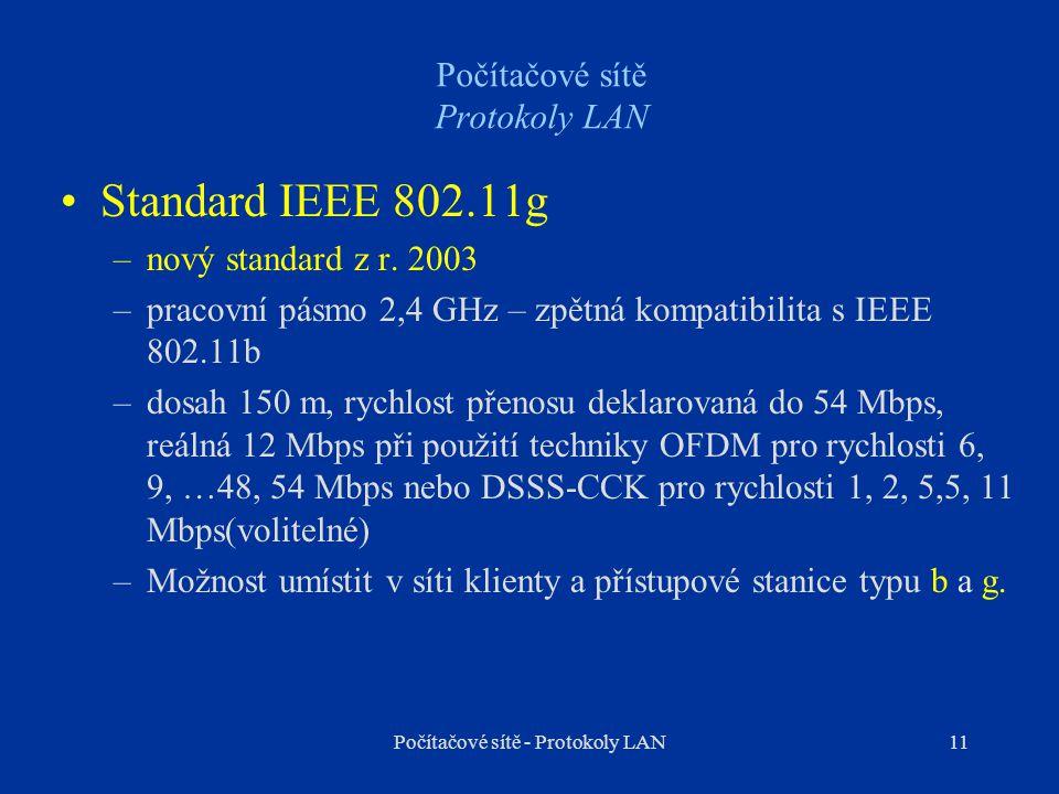 11 Počítačové sítě Protokoly LAN Standard IEEE 802.11g –nový standard z r. 2003 –pracovní pásmo 2,4 GHz – zpětná kompatibilita s IEEE 802.11b –dosah 1