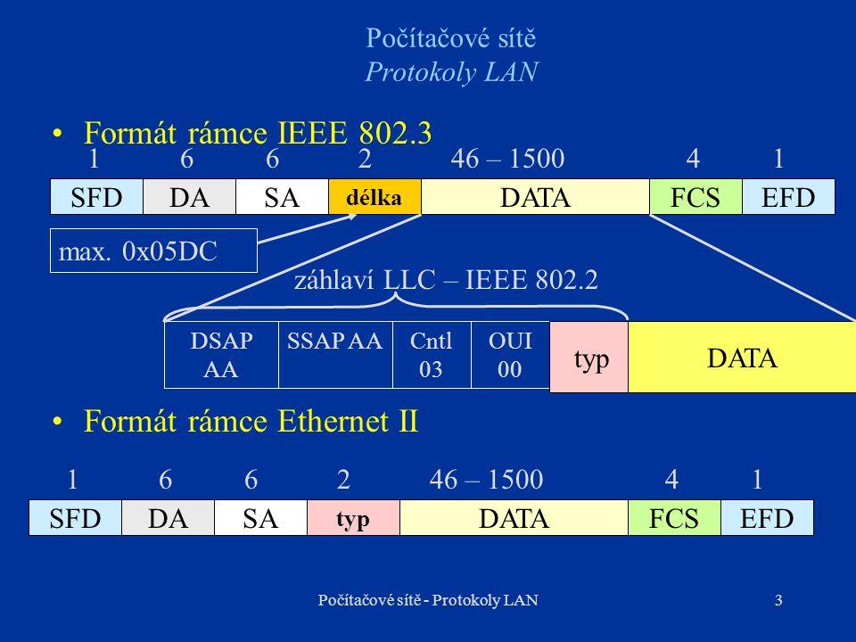 4 Počítačové sítě Protokoly LAN Záhlaví IEEE 802.3/Ethernet SFD, EFD – začátek a konec rámce (10101011) FCS – kontrolní součet – CRC DA – Destination Address – cílová MAC adresa SA – Source Address – zdrojová MAC adresa délka - 0x0000 – 0x05DC typ – identifikátor protokolu, jehož PDU je vnořeno do rámce TCP/IP protokolyFiremní protokoly IP0x0800DEC0x6000 – 0x6009 ARP0x08063COM0x6010 – 0x6014 RARP0x8035Novell0x8137 – 0x8138 IBM0x80D5 Počítačové sítě - Protokoly LAN