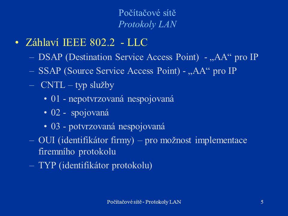 """5 Počítačové sítě Protokoly LAN Záhlaví IEEE 802.2 - LLC –DSAP (Destination Service Access Point) - """"AA"""" pro IP –SSAP (Source Service Access Point) -"""