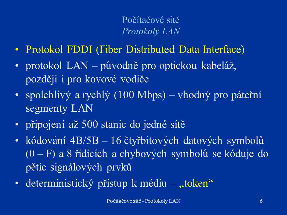 6 Počítačové sítě Protokoly LAN Protokol FDDI (Fiber Distributed Data Interface) protokol LAN – původně pro optickou kabeláž, později i pro kovové vod
