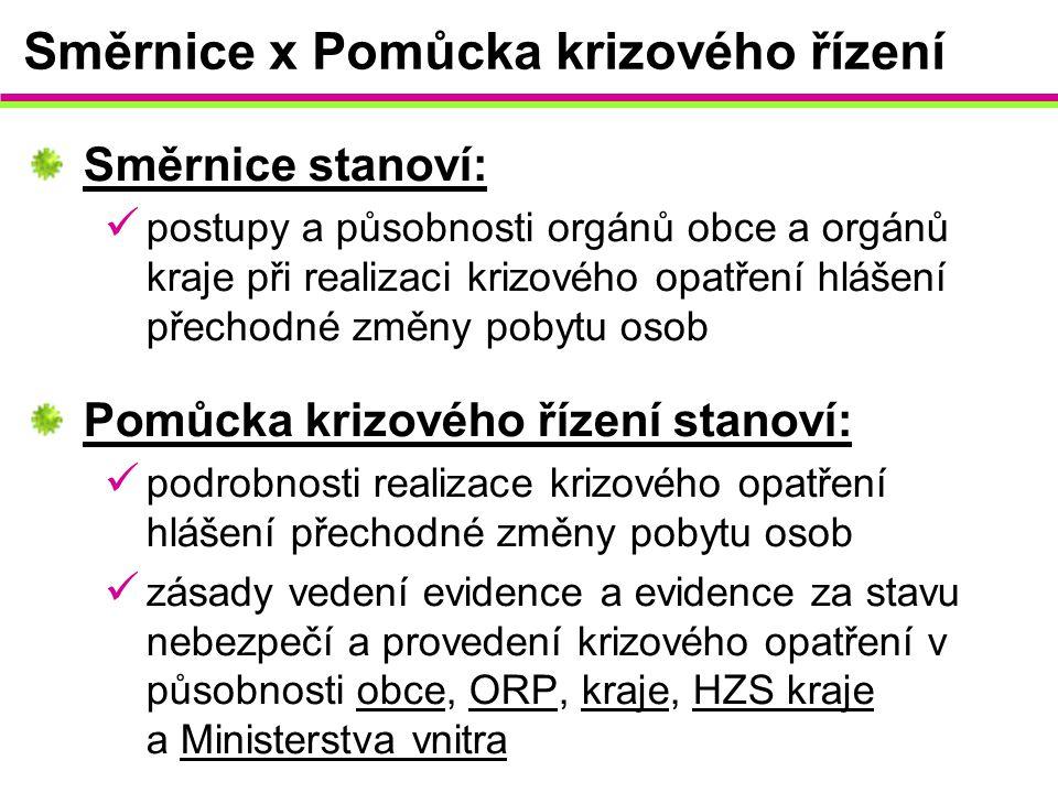 Směrnice x Pomůcka krizového řízení Směrnice stanoví: postupy a působnosti orgánů obce a orgánů kraje při realizaci krizového opatření hlášení přechod