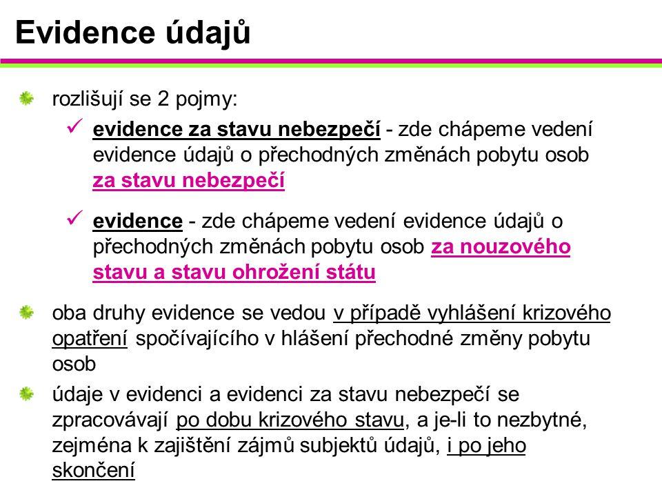 Evidence údajů rozlišují se 2 pojmy: evidence za stavu nebezpečí - zde chápeme vedení evidence údajů o přechodných změnách pobytu osob za stavu nebezp