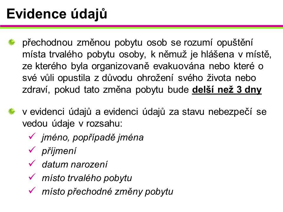 Evidence údajů přechodnou změnou pobytu osob se rozumí opuštění místa trvalého pobytu osoby, k němuž je hlášena v místě, ze kterého byla organizovaně