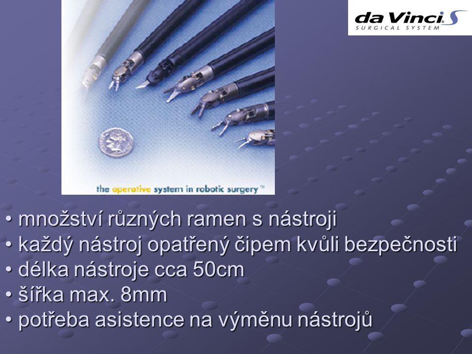 množství různých ramen s nástroji množství různých ramen s nástroji každý nástroj opatřený čipem kvůli bezpečnosti každý nástroj opatřený čipem kvůli