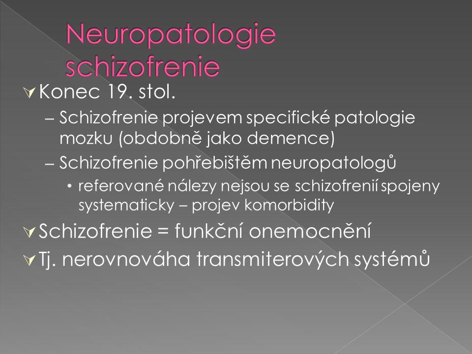  Konec 19. stol. – Schizofrenie projevem specifické patologie mozku (obdobně jako demence) – Schizofrenie pohřebištěm neuropatologů referované nálezy