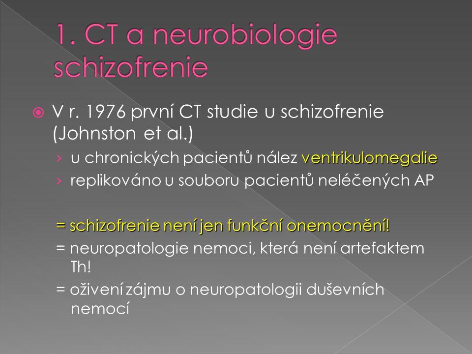  V r. 1976 první CT studie u schizofrenie (Johnston et al.) ventrikulomegalie › u chronických pacientů nález ventrikulomegalie › replikováno u soubor