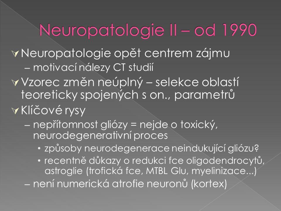  Neuropatologie opět centrem zájmu – motivací nálezy CT studií  Vzorec změn neúplný – selekce oblastí teoreticky spojených s on., parametrů  Klíčov